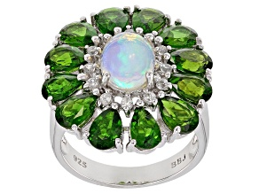 Multicolor Ethiopian Opal Rhodium Over Silver Ring 5.81ctw