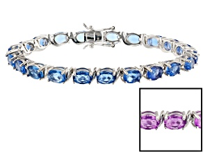 Color Change Blue Fluorite rhodium over silver bracelet 17.49ctw