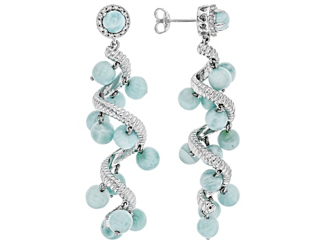 Blue larimar rhodium over sterling silver dangle earrings .41ctw