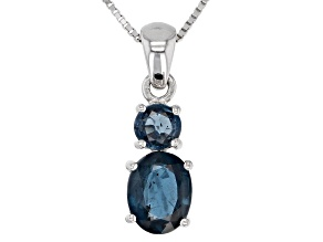 Blue chromium kyanite rhodium over silver pendant with chain 2.50ctw
