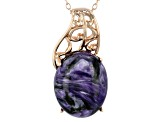 Purple charoite 18k rose gold over sterling silver pendant with chain