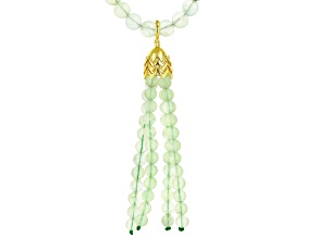 Green prehnite 18k gold over silver necklace with enhancer