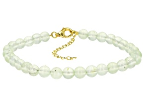 Green prehnite 18k gold over silver bracelet