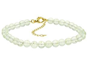 Green prehnite 18k gold over silver bracelet
