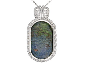 Green Azurmalachite Rhodium Over Sterling Silver Pendant with Chain