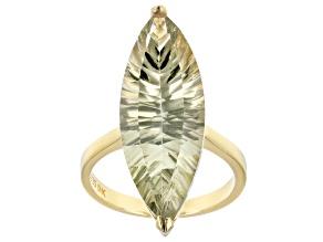 Green prasiolite 18k gold over silver ring 10.27ct