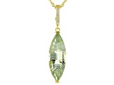 Green prasiolite 18k gold over silver enhancer with chain 11.33ctw