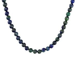 Blue teal Azurmalachite strand 18k yellow gold over sterling silver necklace