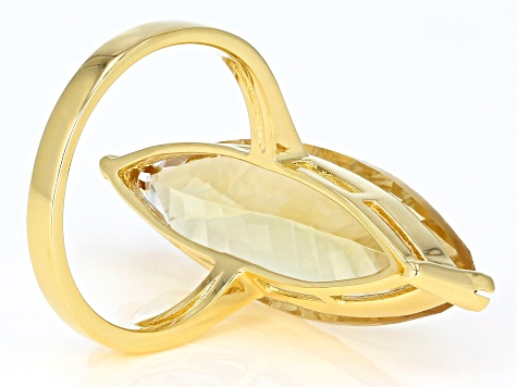 Yellow golden citrine 18k gold over silver ring 10.27ct