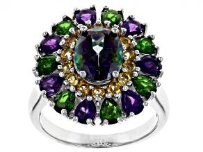 Multicolor Topaz Rhodium Over Silver Ring 3.89ctw