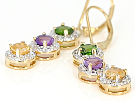Multi-Gemstone 18k Gold Over Silver Earrings 2.89ctw