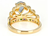 Multi-Color Topaz 18k Gold Over Silver Ring 1.63ctw