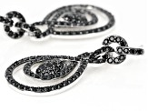 Black spinel rhodium over silver earrings 3.00ctw