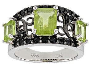 Green peridot rhodium over silver ring 1.38ctw