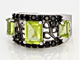 Green peridot rhodium over silver ring 1.38ctw