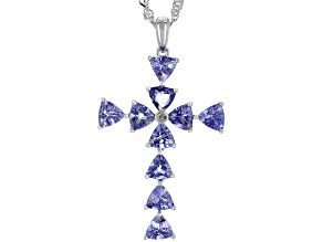 Blue tanzanite rhodium over silver pendant with chain 2.05ctw