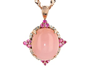 Pink Peruvian opal 18k rose gold over silver pendant with chain .32ctw