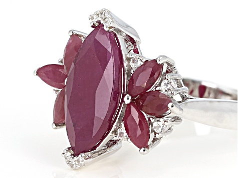 Red ruby rhodium over silver ring 4.56ctw