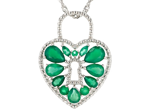 Green onyx rhodium over silver pendant with chain