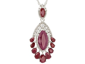 Red ruby rhodium over silver enhancer with chain 8.86ctw