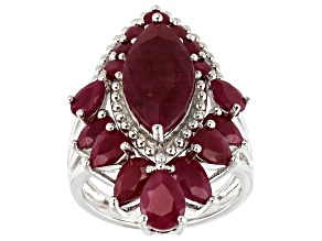 Red Ruby Rhodium Over Silver Ring 8.68ctw
