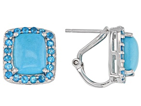 Blue turquoise rhodium over silver earrings 1.02ctw