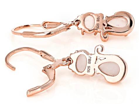 Pink rose quartz 18k rose gold over silver cat earrings