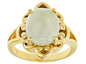 Green prehnite 18k gold over silver ring