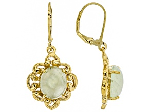 Green prehnite 18k gold over silver earrings