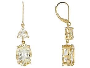 Yellow labradorite 18k yellow gold over silver earrings 10.54ctw