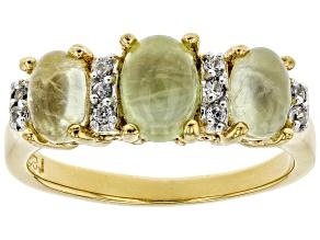 Green Prehnite 18k Gold Over Silver Ring .07ctw