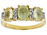 Green Prehnite 18k Gold Over Silver Ring .07ctw