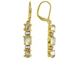 Green Prehnite 18k Yellow Gold Over Silver Earrings .05ctw
