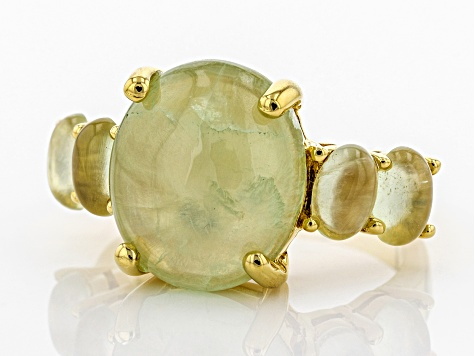 Green Prehnite 18k Yellow Gold Over Silver Ring