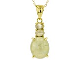 Green Prehnite 18k Yellow Gold Over Silver Pendant With Chain