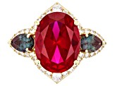 Red lab created ruby 18k gold over silver ring 12.62ctw