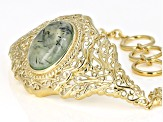 Green Prehnite 18k yellow gold over sterling silver bracelet