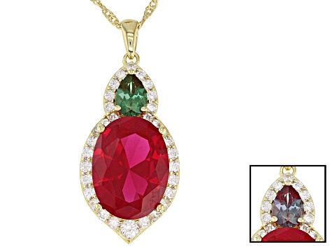 Red lab created ruby 18k gold over silver pendant with chain 12.08ctw