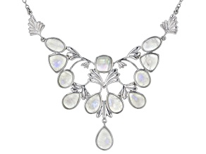 White rainbow moonstone rhodium over sterling silver necklace