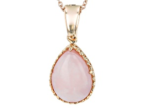 Pink Peruvian Opal 18k Rose Gold Over Silver Enhancer/Pendant With Chain