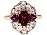 Raspberry Color Rhodolite 18k Rose Gold Over Sterling Silver Ring 3.34ctw