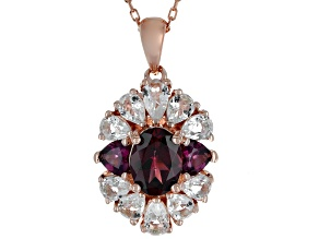 Raspberry Color Rhodolite 18k Rose Gold Over Sterling Silver Pendant with Chain 3.34ctw