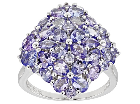 Blue tanzanite rhodium over silver ring 2.86ctw