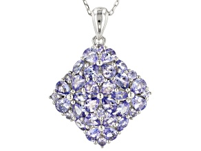 Blue tanzanite rhodium over silver pendant with chain 2.86ctw