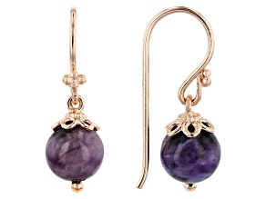 Purple charoite 18k rose gold over sterling silver dangle earrings