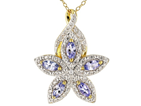 Blue Tanzanite 18k Gold Over Silver Pendant With Chain 1.30ctw