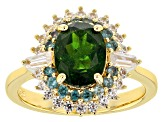 Green Russian Chrome Diopside 18k Gold Over Silver Ring 2.50ctw
