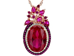 Red lab created ruby 18k rose gold over silver pendant with chain 14.59ctw
