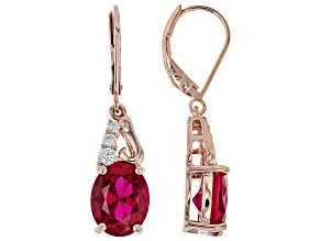 Red lab created ruby 18k rose gold over silver earrings 6.04ctw