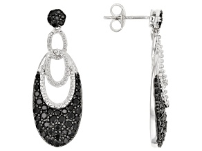 Black spinel rhodium over silver earrings 2.25ctw